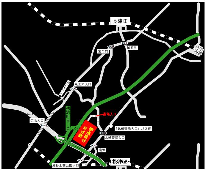 横浜市北部斎場アクセス地図